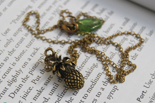 Aloha! Tropical Pineapple Necklace | Tiki Charm Jewelry - Enchanted Leaves - Nature Jewelry - Unique Handmade Gifts