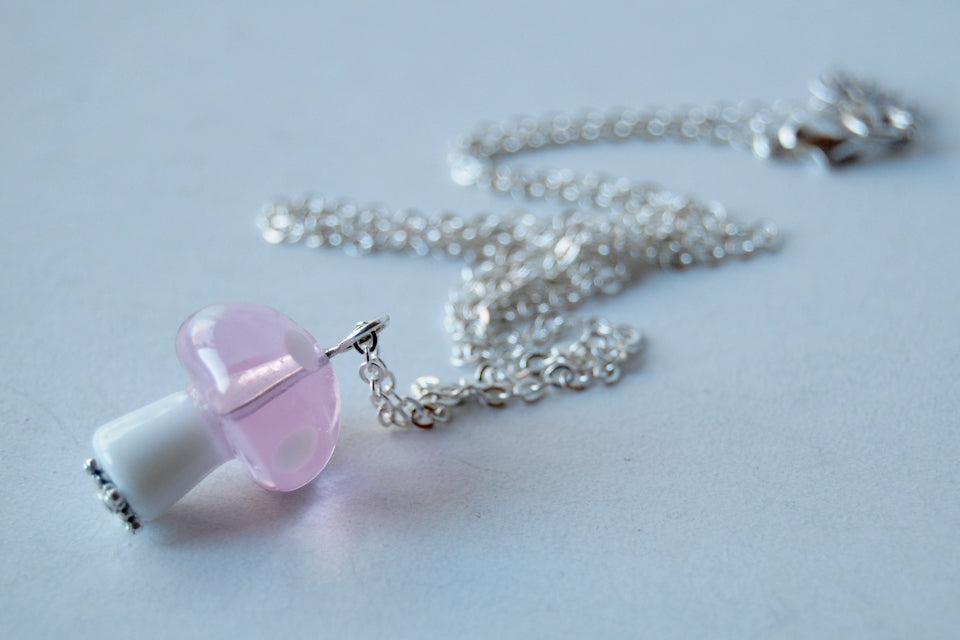 Pink Princess Toadstool Mushroom Necklace | Glass Mushroom Charm Necklace - Enchanted Leaves - Nature Jewelry - Unique Handmade Gifts