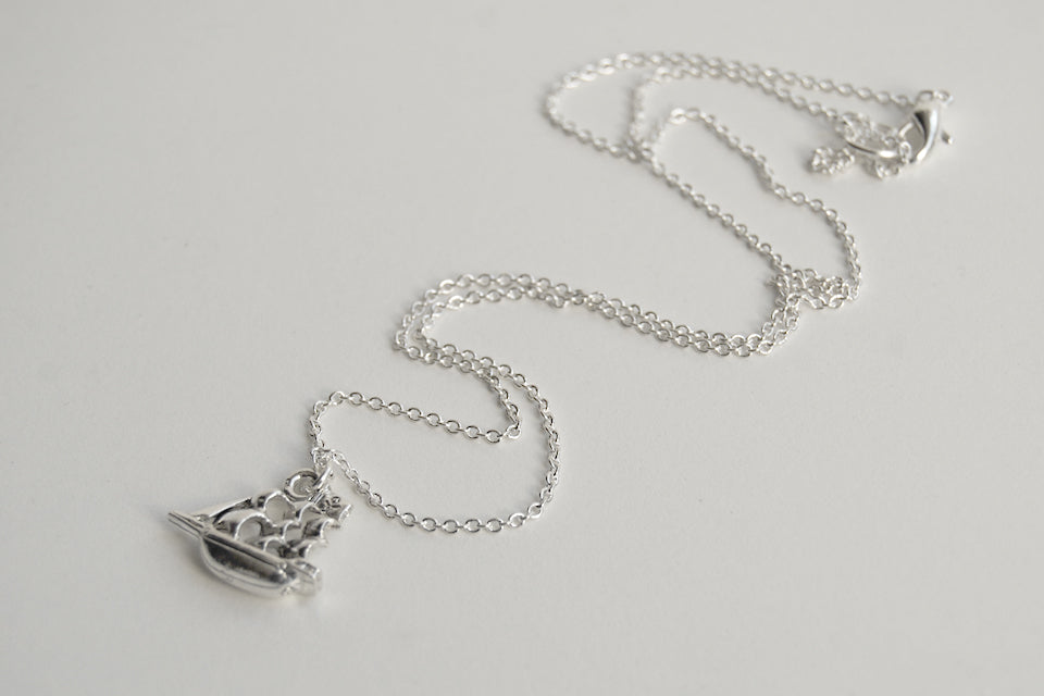 Jolly Roger Pirate Ship Necklace | Silver Ship Charm Necklace | Peter Pan Pirate Ship - Enchanted Leaves - Nature Jewelry - Unique Handmade Gifts