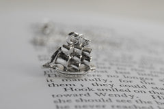 Jolly Roger Pirate Ship Necklace | Silver Ship Charm Necklace | Peter Pan Pirate Ship