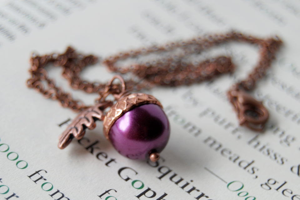 Plum and Copper Pearl Acorn Necklace | Cute Nature Acorn Charm Necklace | Fall Acorn Necklace | Woodland  Pearl Acorn | Nature Jewelry - Enchanted Leaves - Nature Jewelry - Unique Handmade Gifts
