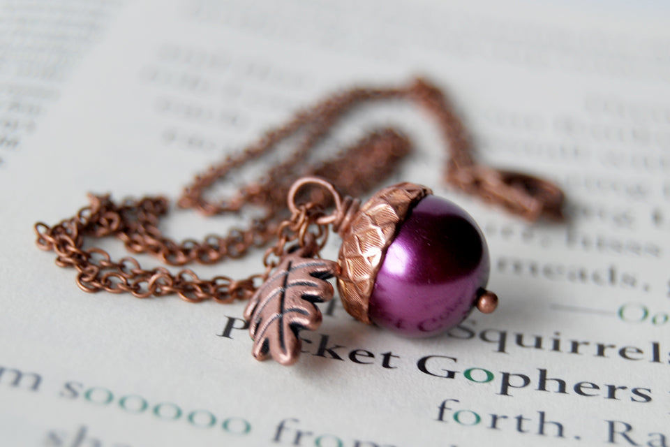 Plum & Copper Acorn Necklace | Nature Jewelry | Woodland Pearl Acorn | Fall Acorn Charm Necklace - Enchanted Leaves - Nature Jewelry - Unique Handmade Gifts