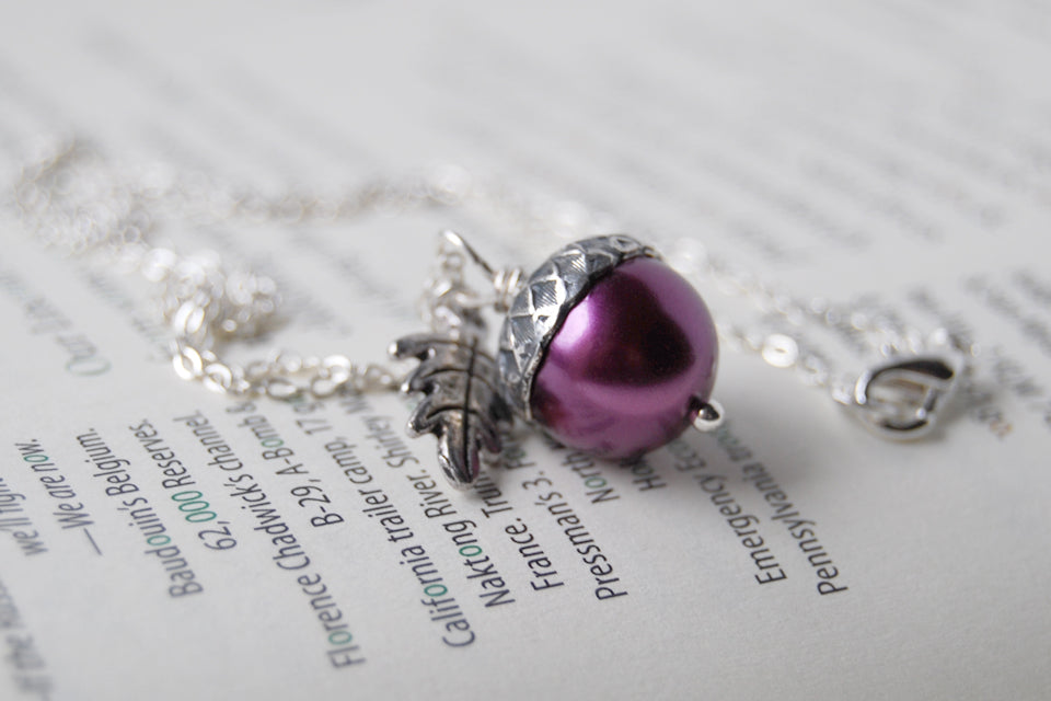 Plum & Silver Acorn Necklace | Nature Jewelry | Woodland Pearl Acorn | Fall Acorn Charm Necklace - Enchanted Leaves - Nature Jewelry - Unique Handmade Gifts