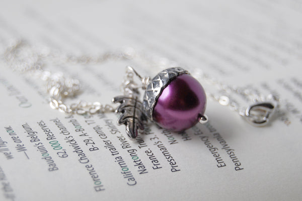 Plum and Silver Pearl Acorn Necklace | Cute Nature Acorn Charm Necklace | Fall Acorn Necklace | Woodland  Pearl Acorn | Nature Jewelry - Enchanted Leaves - Nature Jewelry - Unique Handmade Gifts