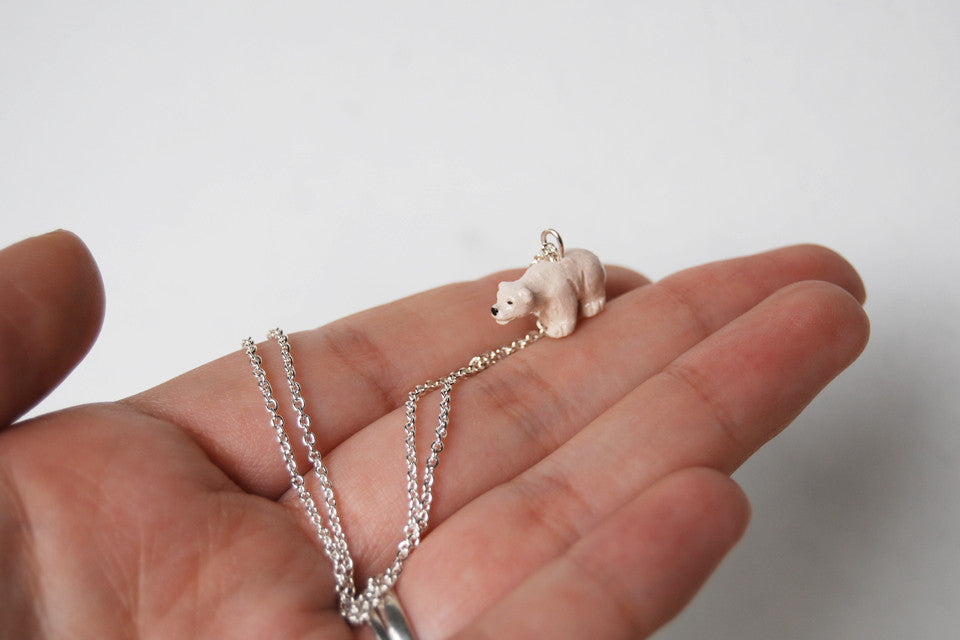 Little Polar Bear Necklace | Bear Charm Necklace | Wild Animal Jewelry - Enchanted Leaves - Nature Jewelry - Unique Handmade Gifts