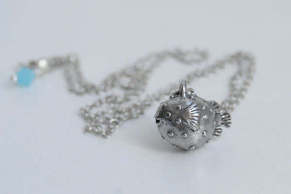Little Blowfish Necklace | Cute Little Puffer Fish Charm Necklace - Enchanted Leaves - Nature Jewelry - Unique Handmade Gifts