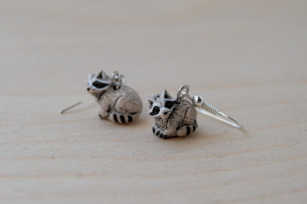 Little Raccoon Earrings | Raccoon Charm Earrings | Woodland Jewelry - Enchanted Leaves - Nature Jewelry - Unique Handmade Gifts