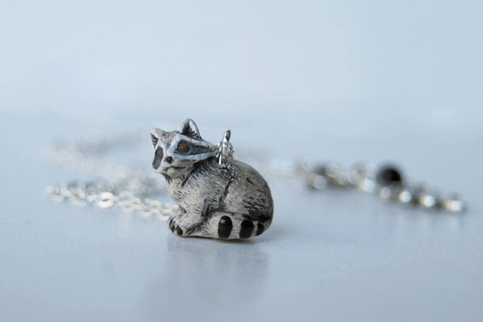 Rocky Raccoon | Cute Raccoon Charm Necklace | Rocket Raccoon Necklace - Enchanted Leaves - Nature Jewelry - Unique Handmade Gifts