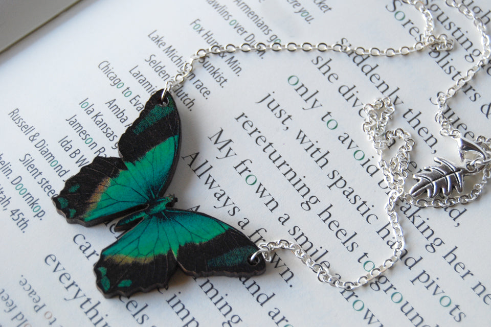Radiant Swallowtail Butterfly Necklace | Green Butterfly Pendant | Woodland Butterfly Necklace - Enchanted Leaves - Nature Jewelry - Unique Handmade Gifts