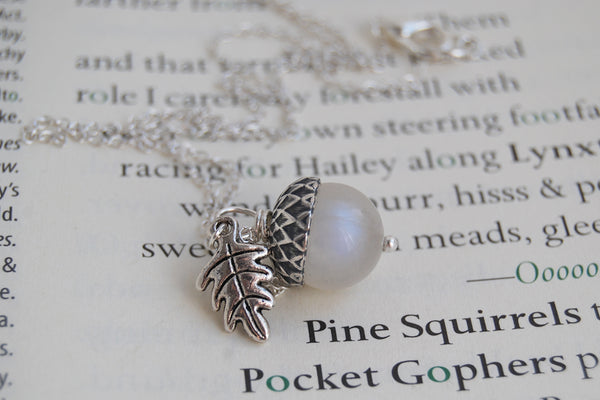 Rainbow Moonstone and Silver Acorn Necklace | Cute Nature Acorn Charm Necklace | Fall Acorn Necklace | Woodland Gemstone Acorn | Nature Jewelry - Enchanted Leaves - Nature Jewelry - Unique Handmade Gifts