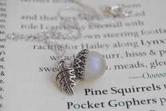 Rainbow Moonstone and Silver Acorn Necklace