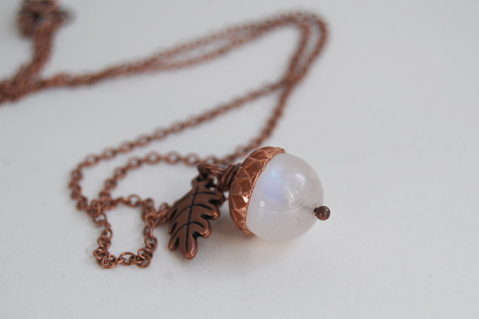 Rainbow Moonstone and Copper Acorn Necklace | Cute Nature Acorn Charm Necklace | Fall Acorn Necklace | Woodland Gemstone Acorn | Nature Jewelry - Enchanted Leaves - Nature Jewelry - Unique Handmade Gifts