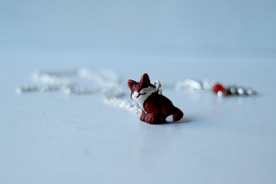 Little Red Fox Necklace | Fox Charm Necklace | Woodland Fox Jewelry - Enchanted Leaves - Nature Jewelry - Unique Handmade Gifts