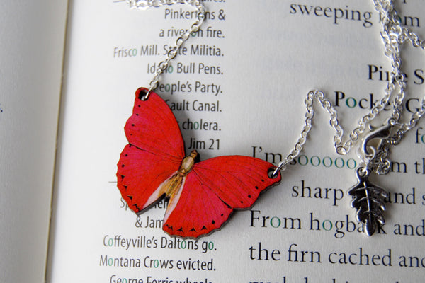 Red Glider Butterfly Necklace | Red Butterfly Pendant | Woodland Butterfly Necklace - Enchanted Leaves - Nature Jewelry - Unique Handmade Gifts