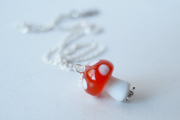 Large Red Glass Mushroom Necklace | Cute Red Toadstool Charm Necklace | Mushroom Jewelry - Enchanted Leaves - Nature Jewelry - Unique Handmade Gifts