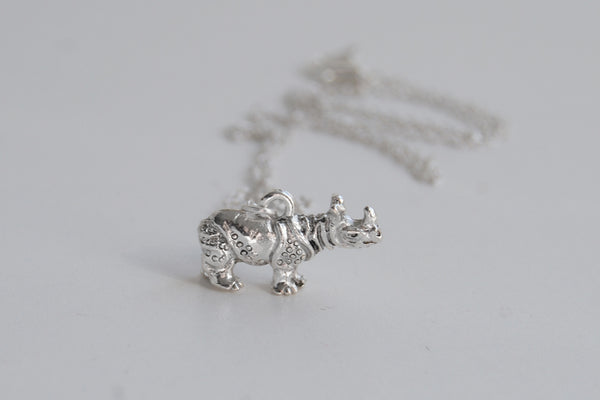 Rhino Necklace | Cute Silver Rhinoceros Charm Necklace | Wildlife Jewelry - Enchanted Leaves - Nature Jewelry - Unique Handmade Gifts