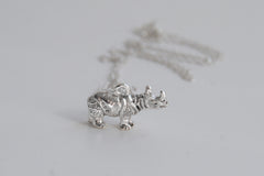 Rhino Necklace | Cute Silver Rhinoceros Charm Necklace | Wildlife Jewelry