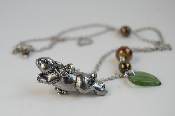Rhosgobel Rabbit | The Hobbit Necklace | Rabbit Charm Necklace - Enchanted Leaves - Nature Jewelry - Unique Handmade Gifts