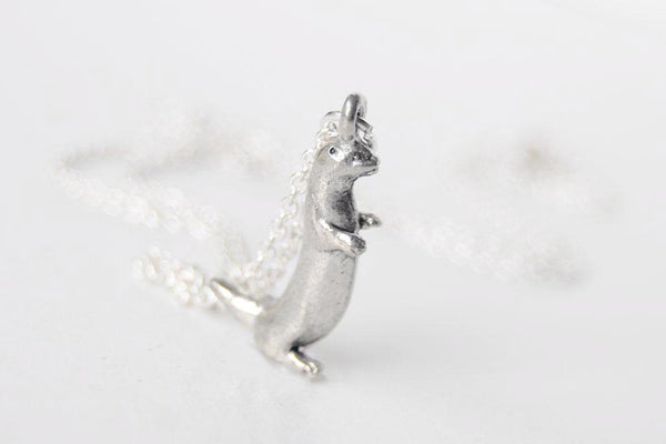 River Otter Necklace | Cute Silver Otter Charm Necklace | Otter Pendant - Enchanted Leaves - Nature Jewelry - Unique Handmade Gifts