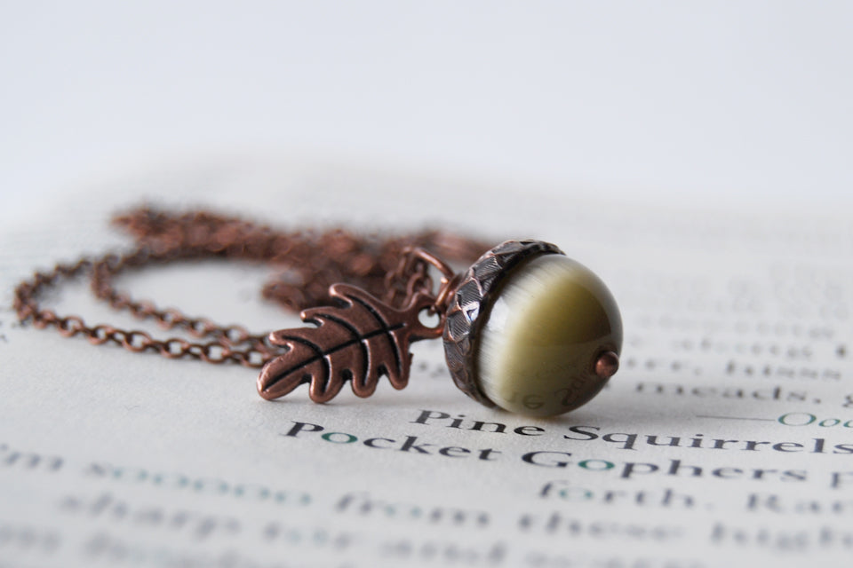 Saffron and Copper Acorn Necklace | Cute Nature Acorn Charm Necklace | Fall Acorn Necklace | Woodland Gemstone Acorn | Nature Jewelry - Enchanted Leaves - Nature Jewelry - Unique Handmade Gifts