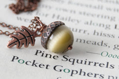 Saffron and Copper Acorn Necklace | Cute Nature Acorn Charm Necklace | Fall Acorn Necklace | Woodland Gemstone Acorn | Nature Jewelry