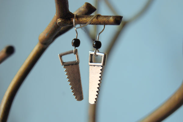 Mini Hand Saw Earrings | Silver Saw Charm Earrings | Tool Jewelry - Enchanted Leaves - Nature Jewelry - Unique Handmade Gifts