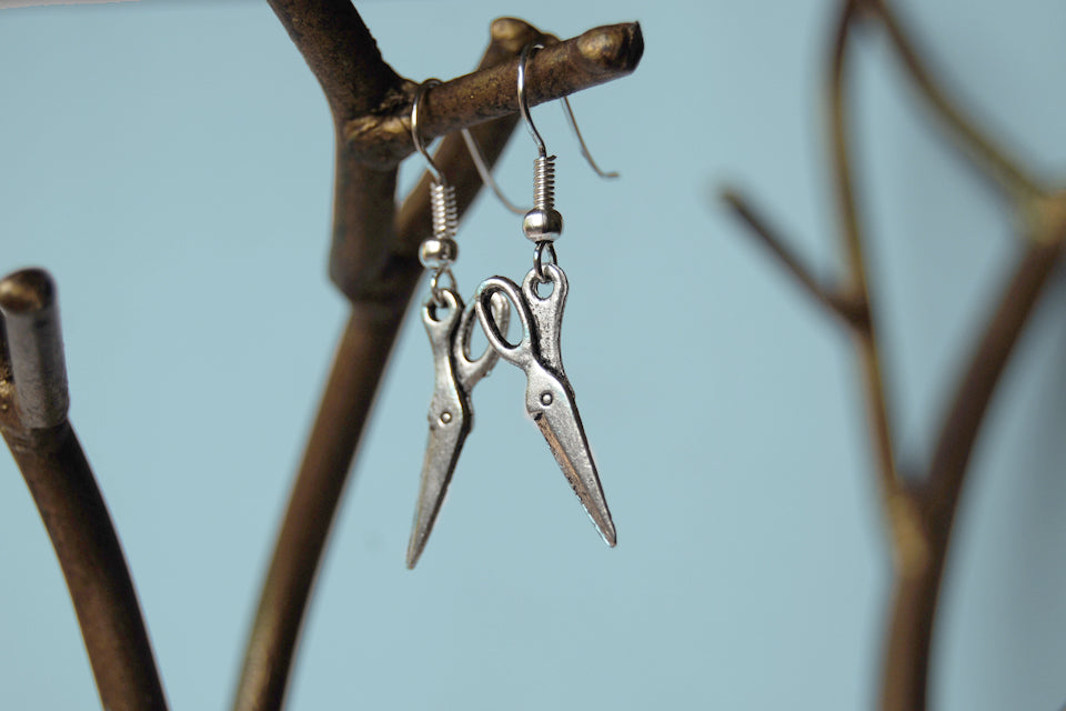 Mini Scissor Earrings | Silver Scissor Charm Earrings | Tool Jewelry - Enchanted Leaves - Nature Jewelry - Unique Handmade Gifts