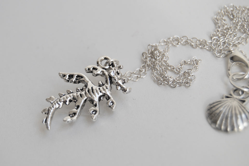 Sea Dragon Necklace | Silver Sea Dragon Charm Necklace | Nautical Sea Creature Jewelry - Enchanted Leaves - Nature Jewelry - Unique Handmade Gifts