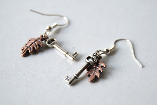 Secret Garden Earrings | Leaf and Key Charm Earrings | Whimsical Forest Jewelry - Enchanted Leaves - Nature Jewelry - Unique Handmade Gifts