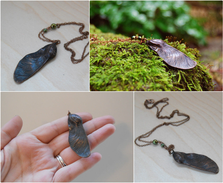 Tipuana Seed Pod Necklace - Enchanted Leaves - Nature Jewelry - Unique Handmade Gifts