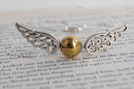 Seeker's Quest | Golden Snitch Necklace | Harry Potter Necklace | Snitch Pendant - Enchanted Leaves - Nature Jewelry - Unique Handmade Gifts