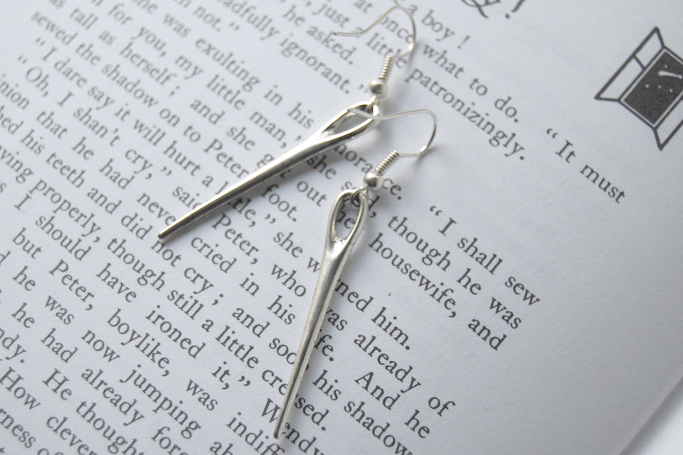 Sewing Needle Earrings | Silver Sewing Needle Charm Earrings - Enchanted Leaves - Nature Jewelry - Unique Handmade Gifts