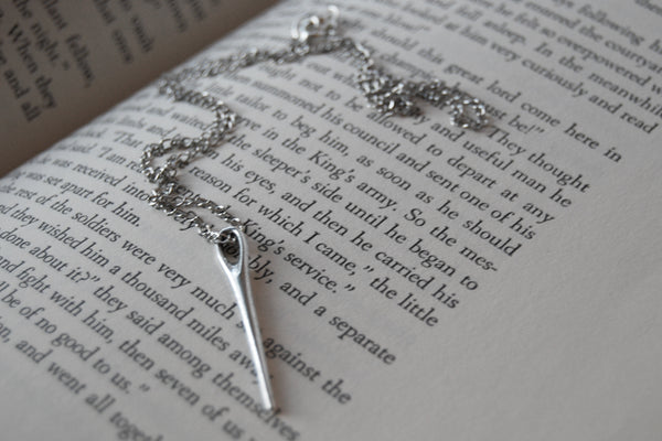 Sewing Needle Necklace | Silver Sewing Needle Charm Necklace - Enchanted Leaves - Nature Jewelry - Unique Handmade Gifts