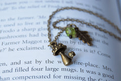 Shortcut to Mushrooms | Brass Mushroom Charm Necklace | Cute Forest Mushroom Jewelry