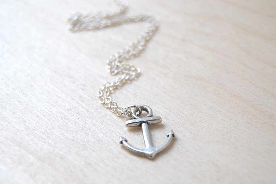 Ahoy! Silver Anchor Necklace | Cute Nautical Charm Necklace - Enchanted Leaves - Nature Jewelry - Unique Handmade Gifts