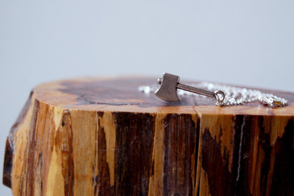 Lumberjack Axe | Silver Ax Charm Necklace | Woodland Axe Pendant - Enchanted Leaves - Nature Jewelry - Unique Handmade Gifts