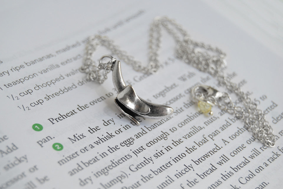 Banana Necklace | Silver Banana Charm Necklace | Cute Fruit Pendant - Enchanted Leaves - Nature Jewelry - Unique Handmade Gifts