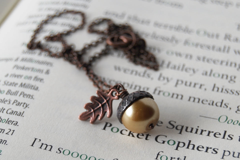 Honey and Copper Pearl Acorn Necklace | Cute Nature Acorn Charm Necklace | Forest Acorn Necklace | Woodland Acorn | Nature Jewelry - Enchanted Leaves - Nature Jewelry - Unique Handmade Gifts