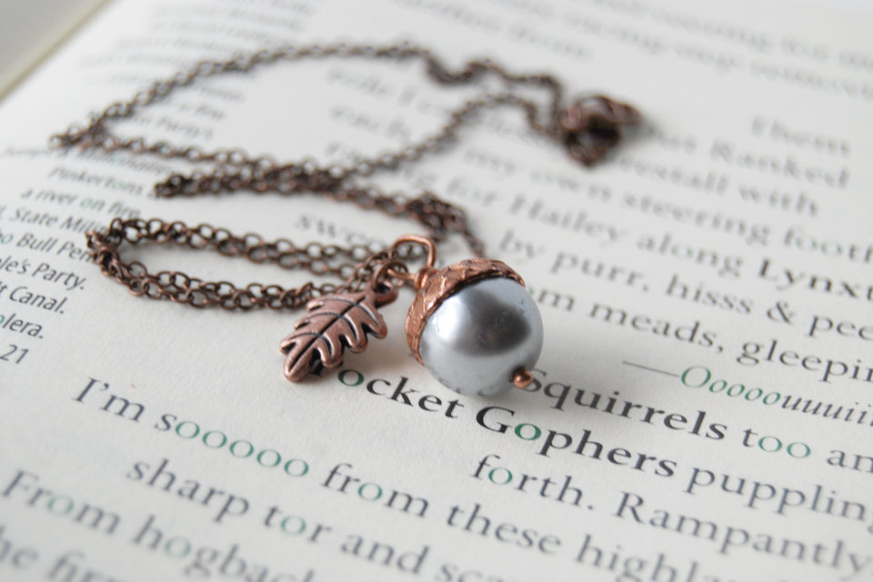 Silver and Copper Pearl Acorn Necklace | Cute Nature Acorn Charm Necklace | Fall Acorn Necklace | Woodland Pearl Acorn | Nature Jewelry - Enchanted Leaves - Nature Jewelry - Unique Handmade Gifts