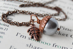 Silver and Copper Pearl Acorn Necklace