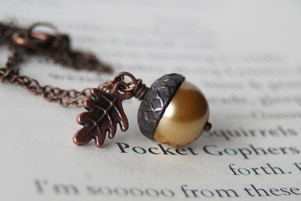 Honey & Copper Acorn Necklace | Nature Jewelry | Woodland Pearl Acorn | Fall Acorn Charm Necklace - Enchanted Leaves - Nature Jewelry - Unique Handmade Gifts