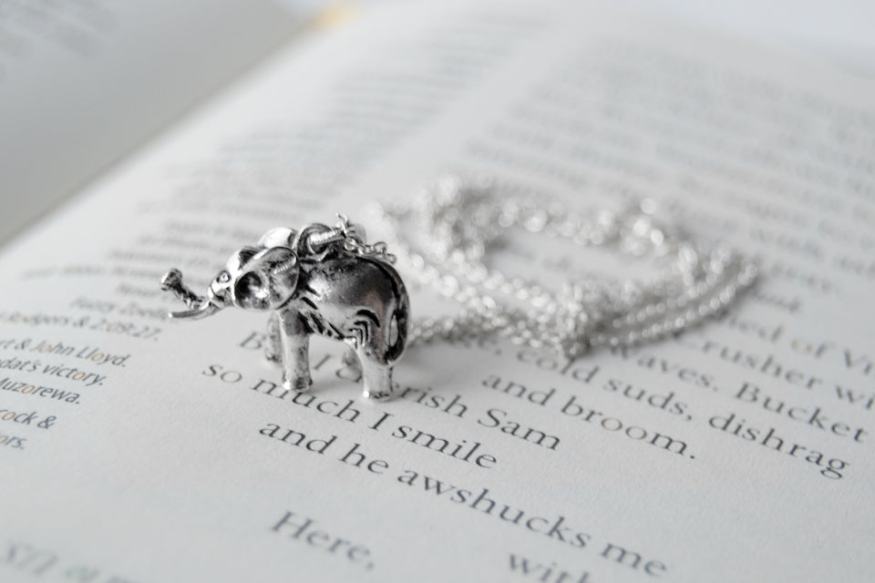 Silver Elephant Necklace | Cute Elephant Charm Jewelry - Enchanted Leaves - Nature Jewelry - Unique Handmade Gifts