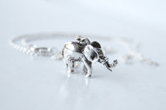 Silver Elephant Necklace | Cute Elephant Charm Jewelry