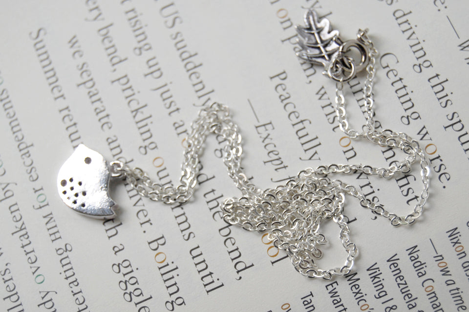 Little Silver Finch Necklace | Bird Charm Necklace | Woodland Forest Jewelry - Enchanted Leaves - Nature Jewelry - Unique Handmade Gifts