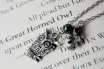 Forest Owl Necklace | Silver Owl Charm | Cute Owl Necklace - Enchanted Leaves - Nature Jewelry - Unique Handmade Gifts