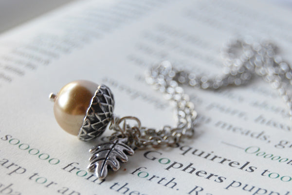 Honey and Silver Pearl Acorn Necklace | Cute Nature Acorn Charm Necklace | Forest Acorn Necklace | Woodland Acorn | Nature Jewelry - Enchanted Leaves - Nature Jewelry - Unique Handmade Gifts