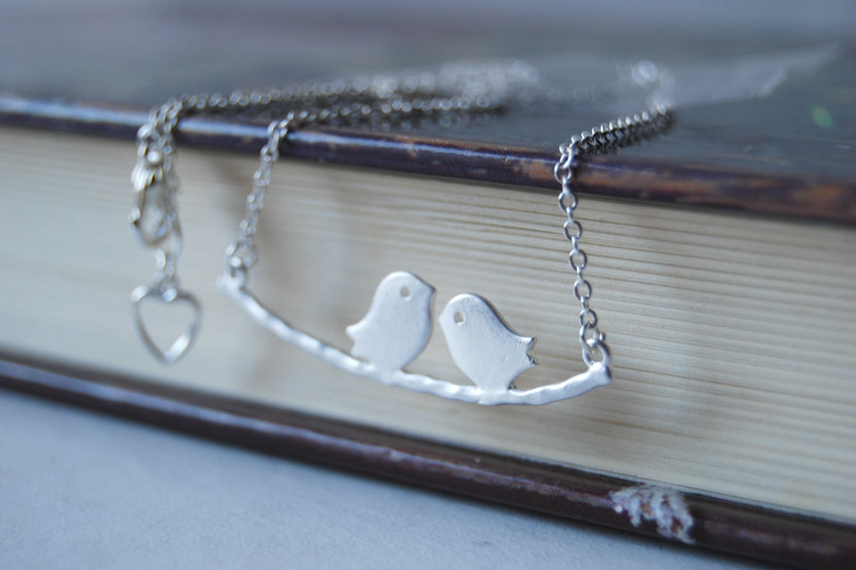 Silver Love Birds | Bird on a Branch Necklace | Mother and Child Necklace | Bird Family Necklace - Enchanted Leaves - Nature Jewelry - Unique Handmade Gifts