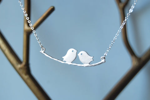 Silver Love Birds | Bird on a Branch Necklace | Mother and Child Necklace | Bird Family Necklace