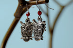 Great Horned Owl Earrings | Cute Silver Owl Charm Earrings - Enchanted Leaves - Nature Jewelry - Unique Handmade Gifts