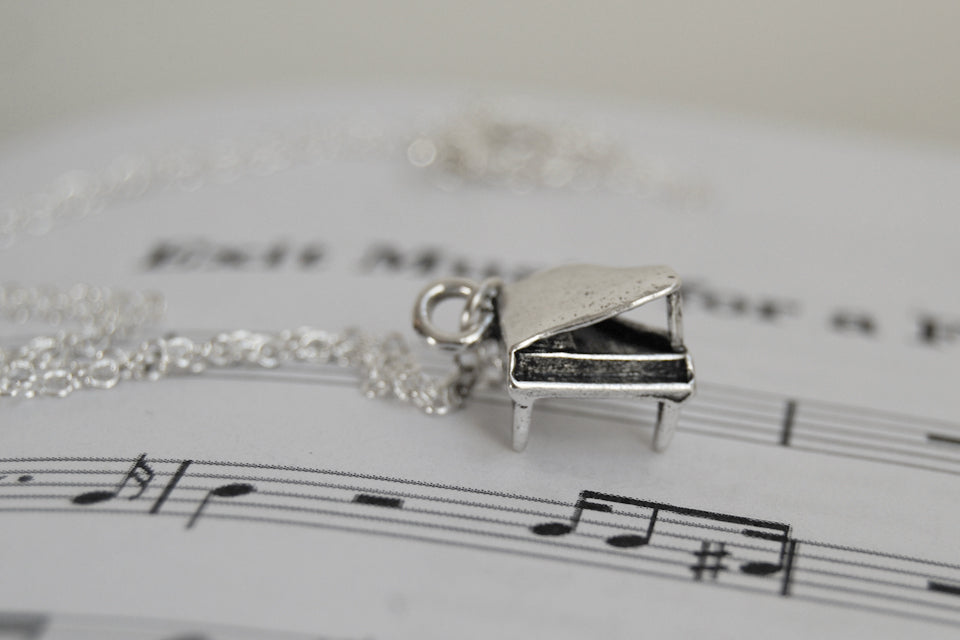 Teeny Piano Necklace - Enchanted Leaves - Nature Jewelry - Unique Handmade Gifts